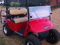 Red Old School E-Z-Go Golf Cart