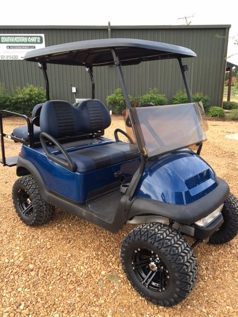 Blue beast golf cart with 2 tone seats