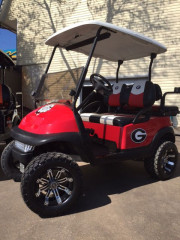 red-golf-cart